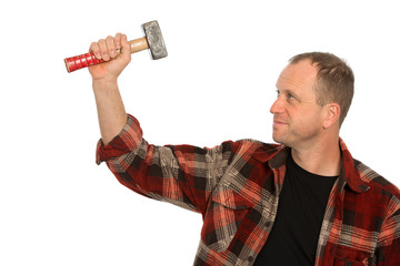 man with big hammer