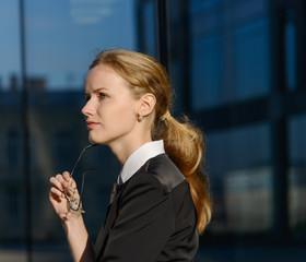 Portrait of destressed businesswoman.