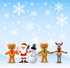 Santa claus, snow man and beasts, stand on to snow