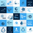Water And Drop Icons Set - Isolated On Background