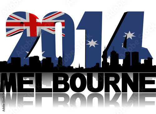 Melbourne skyline with 2014 Australian flag text illustration