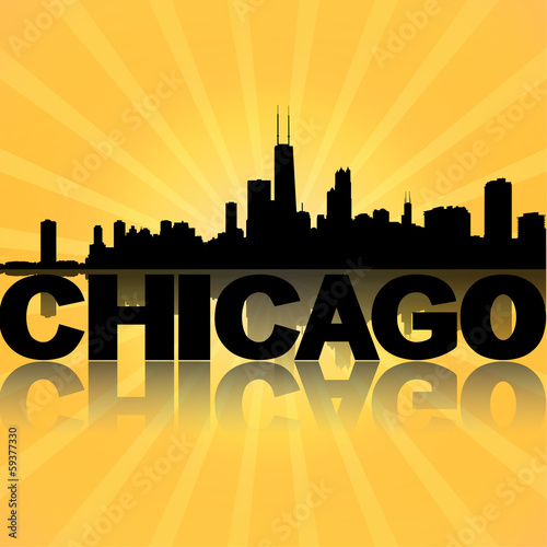 Chicago skyline reflected with sunburst illustration