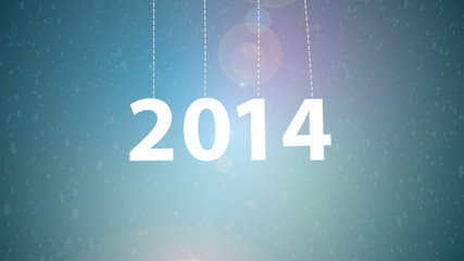 White tags with 2014 with snow background.
