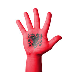 Open hand raised, Albania flag painted