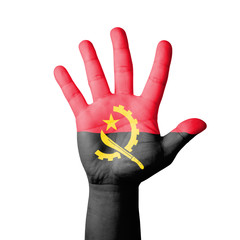 Open hand raised, Angola flag painted