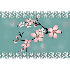 Cherry blossom branch sakura card
