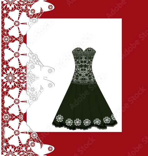 Lace black long dress