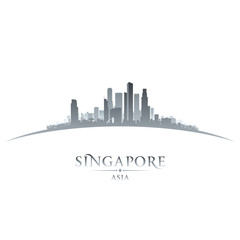 Singapore Asia city skyline silhouette white background