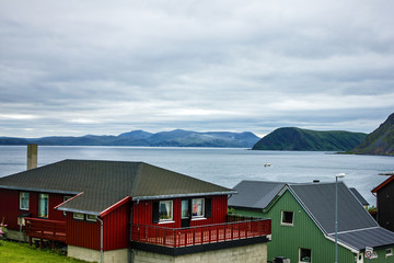 Wooden houses in village Honningsvag, Arctic Norway