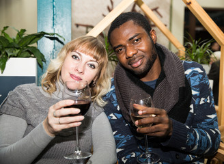 Portrait of happy couple: black man and white woman