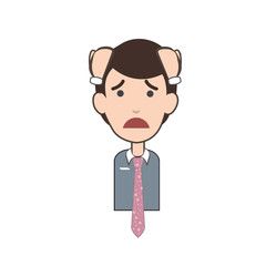 Sad businessman over white background.