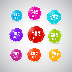 Colorful Discount Labels, Tags Set