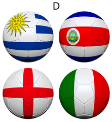Soccer Championship 2014 Group D Flags