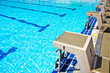 Starting platforms with numbers for swimming races. - 59382959