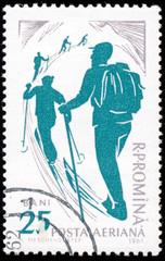 ROMANIA - CIRCA 1961: stamp printed by Romania, show skier, circ