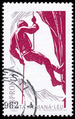 ROMANIA - CIRCA 1961: A stamp printed in Romania shows Mountain