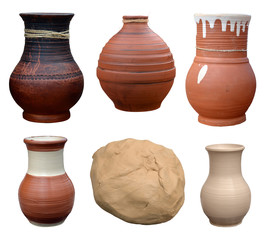 Set isolated pots pottery handmade in Ukrainian folk style and p