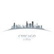 Chicago Illinois city skyline silhouette white background
