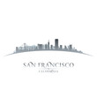 San Francisco California city skyline silhouette white backgroun