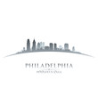 Philadelphia Pennsylvania city skyline silhouette white backgrou