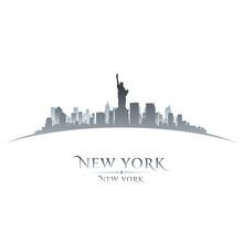 Fototapete - New York city skyline silhouette white background