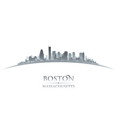 Boston Massachusetts city skyline silhouette white background