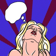 Orgasmic girl in pop-art