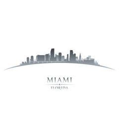 Miami Florida city skyline silhouette white background