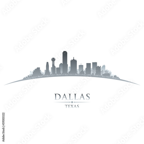 Dallas Texas city skyline silhouette white background