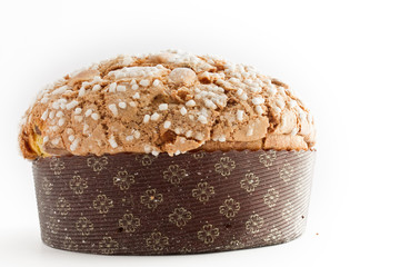 Christmas cake panettone on white background
