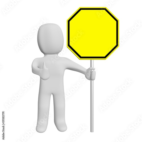 3d road sign blank and human