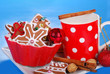milk and assortment of gingerbread cookies for santa