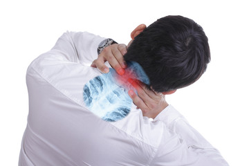 Businessman use hand for suffering head pian