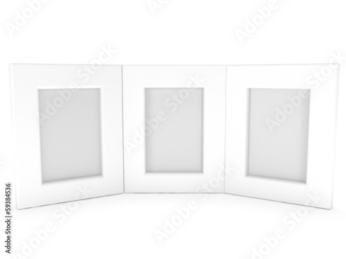 Empty blank photo frames on white. 3D render.