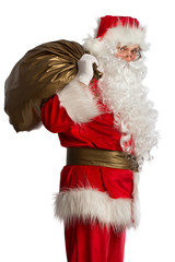 Santa Claus with bag isolated on white
