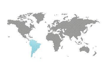 Südamerika in Welt-Karte