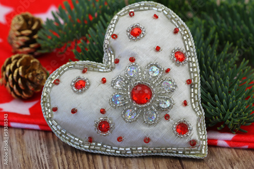Heart with glitter and Christmas decorations