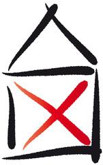 Haus vom Nikolaus - Strichzeichnung - Kreuz