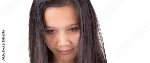 Female asian model over white background