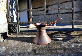 Copper coffee pot, cup, holder, hand forging