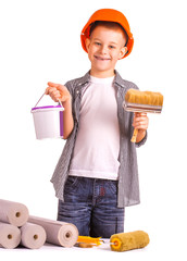 kid with a roll of wallpaper and brush. isolated