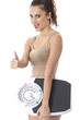Young Woman Holding Weighing Scales