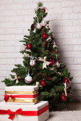 New Year's tree with toys and gifts