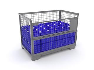 Gitterbox mit Kanistern beladen