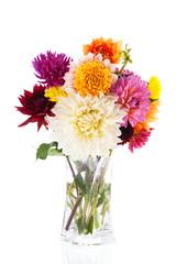 Bouquet Dahlias in glass vase