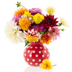 Bouquet Dahlias in red vase