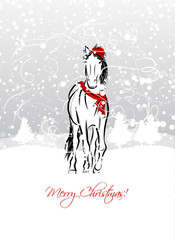 Santa horse sketch for your design. Symbol of 2014 year