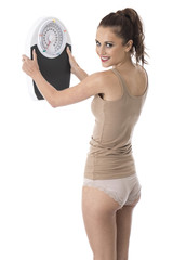 Woman Holding Weighing Scales