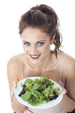 Woman Eating Green Leafed Salad