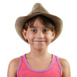 Smiling little girl in straw hat